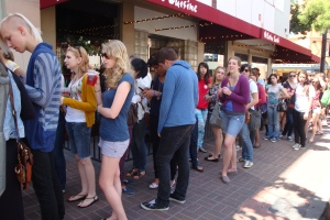 Shoppers lined up for American Apparel's Rummage Sale in San Diego's Gaslamp District on May 8, 2010.